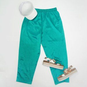 Vintage 90s Teal Silky High Waist Lounge Pants